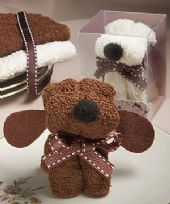 Ivory Puppy Dog Towel Favour
